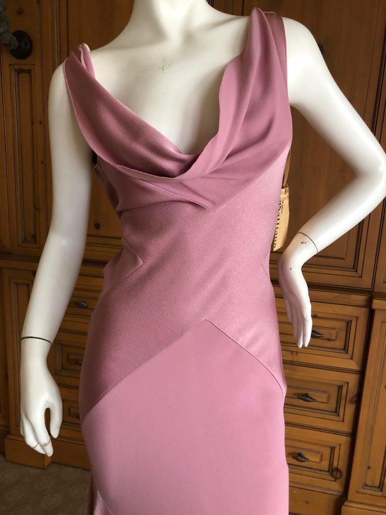 John Galliano Bias Cut Pink Diamond Pattern Cowl Draped Vintage Dress New w Tags For Sale 1
