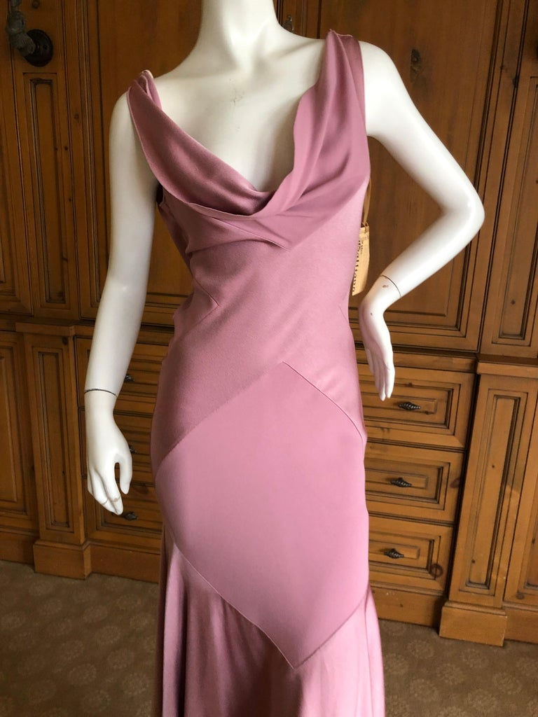 John Galliano Bias Cut Pink Diamond Pattern Cowl Draped Vintage Dress New w Tags 6