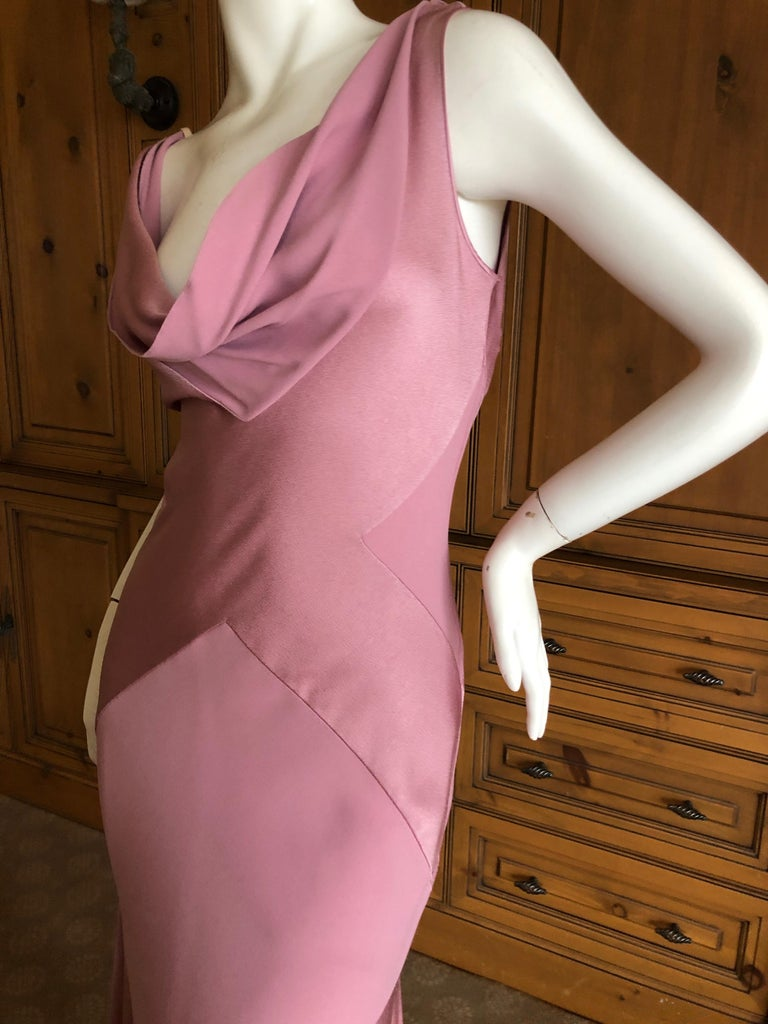 John Galliano Bias Cut Pink Diamond Pattern Cowl Draped Vintage Dress New w Tags 7