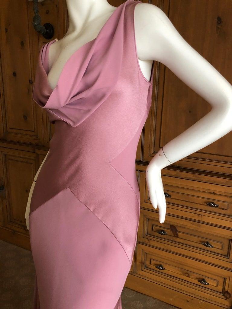 John Galliano Bias Cut Pink Diamond Pattern Cowl Draped Vintage Dress New w Tags For Sale 3