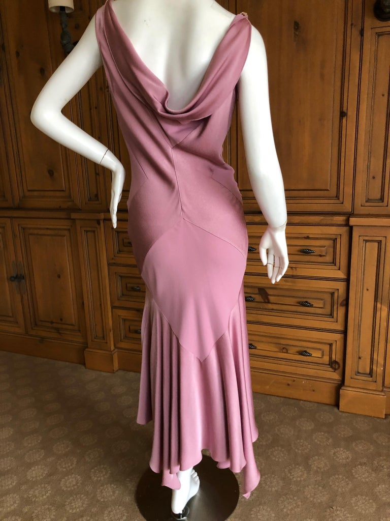 John Galliano Bias Cut Pink Diamond Pattern Cowl Draped Vintage Dress New w Tags 8