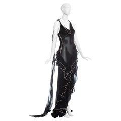 John Galliano black and pink chiffon ruffled evening dress, ss 1995