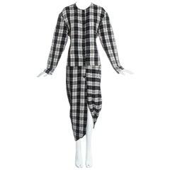 John Galliano black and white plaid cotton draped bustled shirt dress, fw 1987