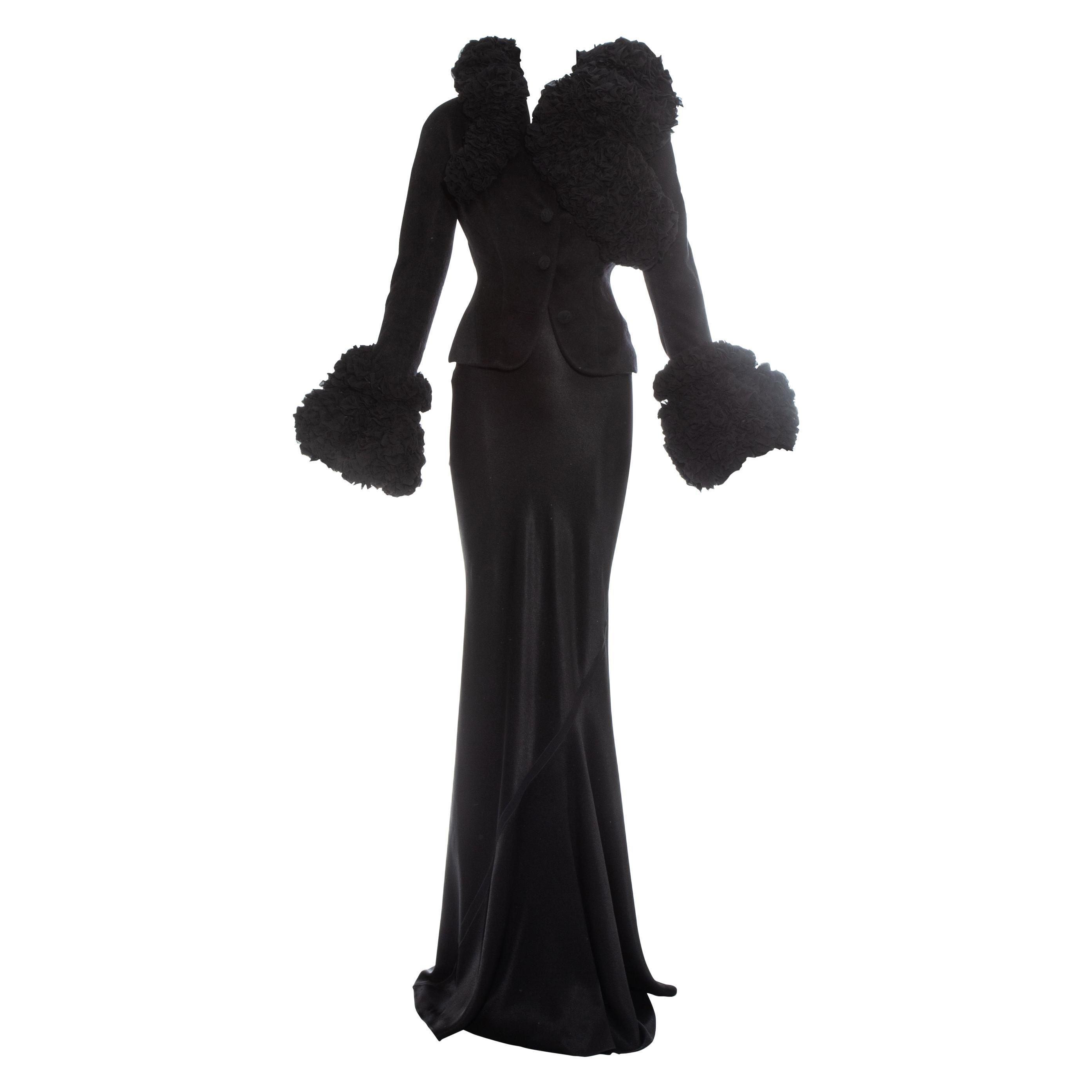 John Galliano black Angora ruffled jacket and silk skirt suit, fw 1995