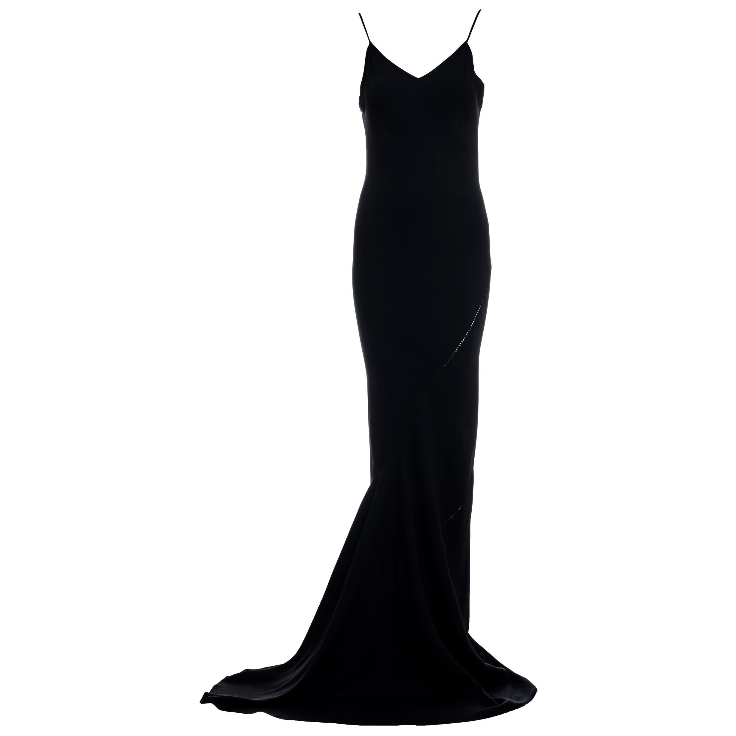 John Galliano black bias-cut trained slip dress, ss 1994