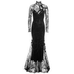John Galliano black lace and leather trained long-sleeve evening dress, fw 2001