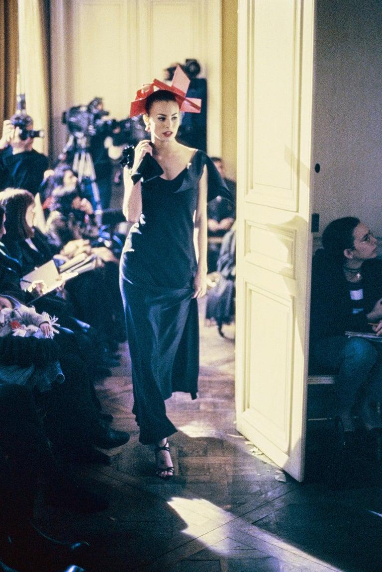 Black John Galliano black satin-backed crêpe evening dress, fw 1994 For Sale