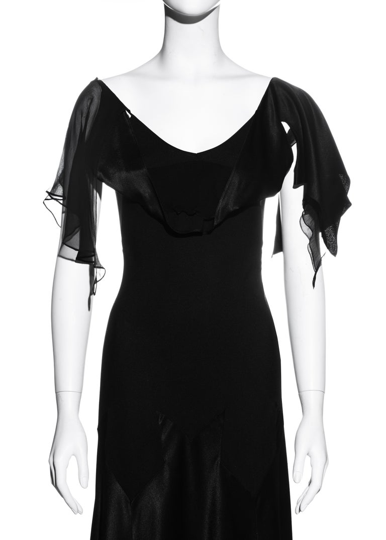 John Galliano black satin-backed crêpe evening dress, fw 1994 In Good Condition For Sale In London, GB