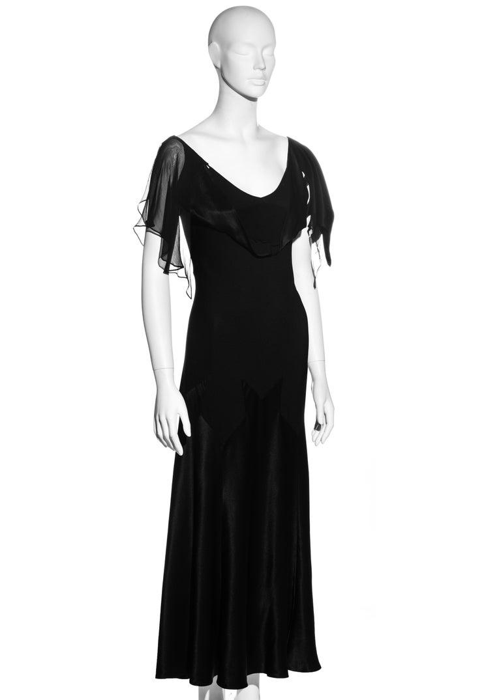Women's John Galliano black satin-backed crêpe evening dress, fw 1994 For Sale