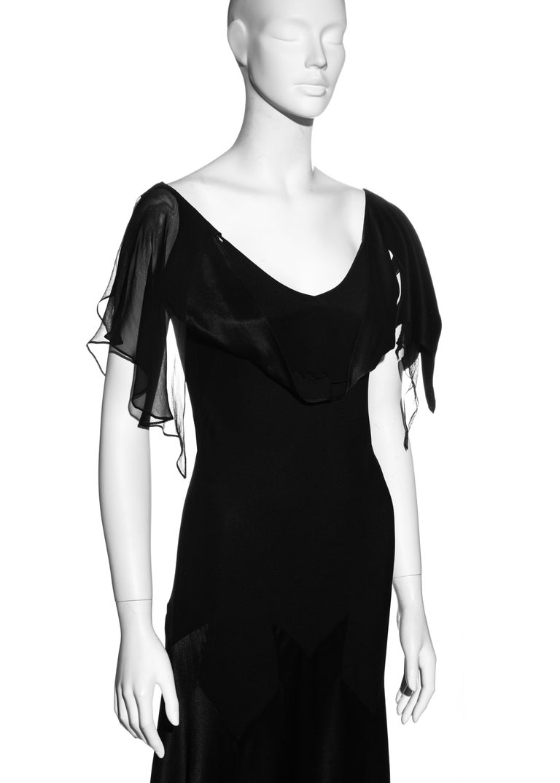 John Galliano black satin-backed crêpe evening dress, fw 1994 For Sale 1