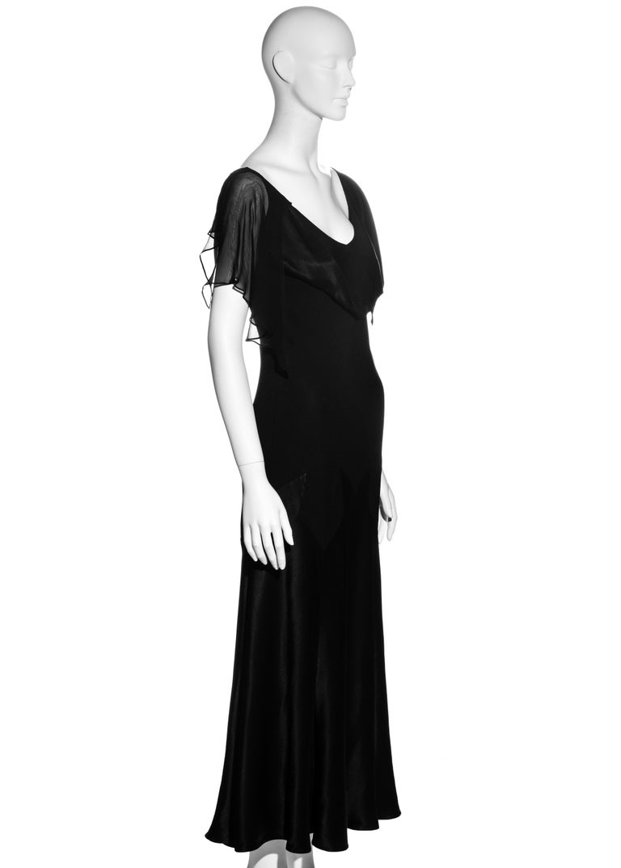 John Galliano black satin-backed crêpe evening dress, fw 1994 For Sale 2