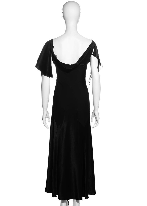 John Galliano black satin-backed crêpe evening dress, fw 1994 For Sale 4