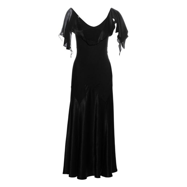 John Galliano black satin-backed crêpe evening dress, fw 1994 For Sale