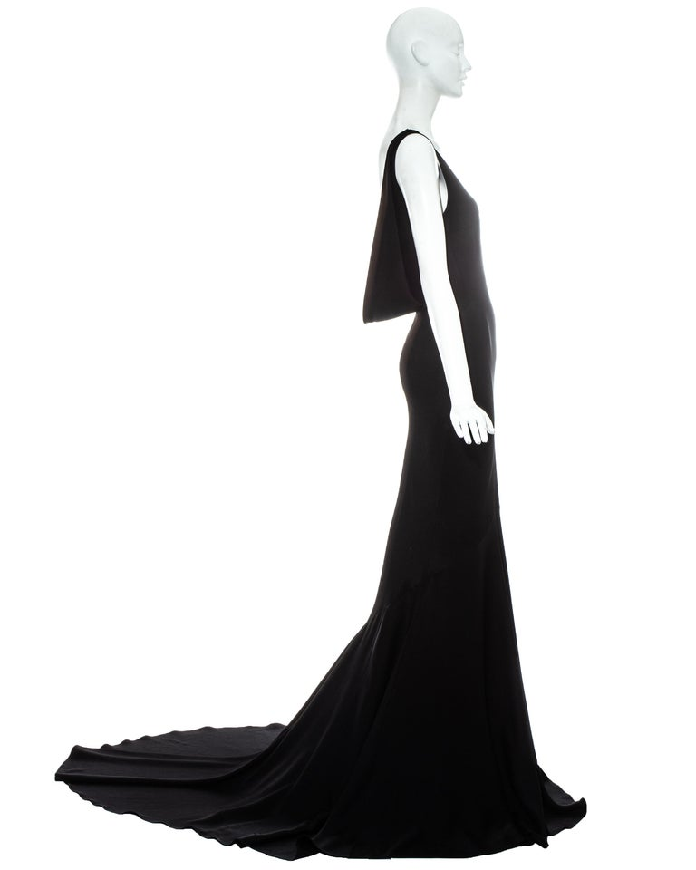 John Galliano black satin bias cut trained evening dress, fw 1995 In Good Condition For Sale In London, GB