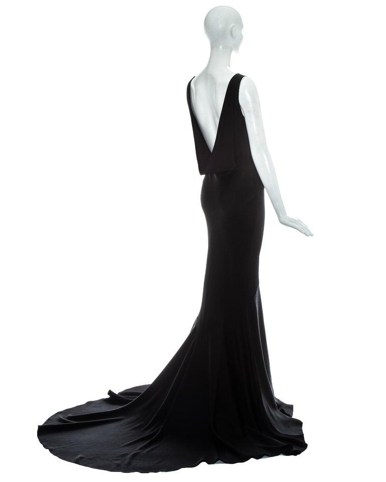 Women's John Galliano black satin bias cut trained evening dress, fw 1995 For Sale