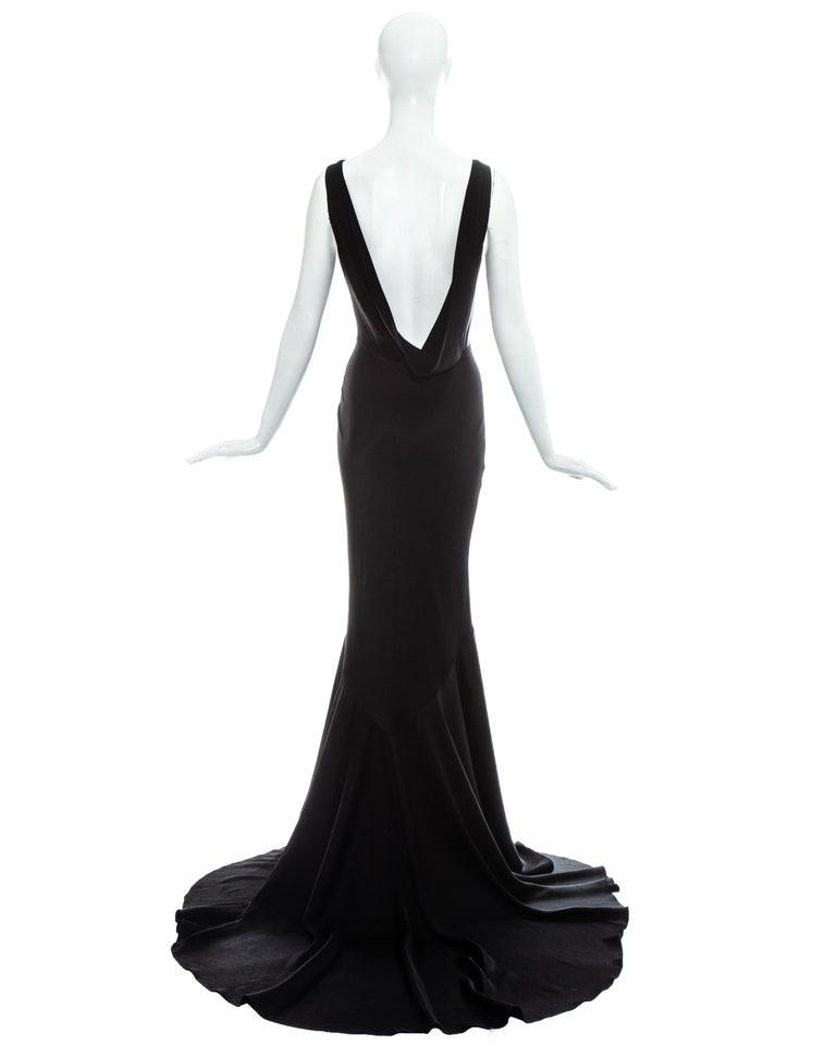 John Galliano black satin bias cut trained evening dress, fw 1995 For Sale 1