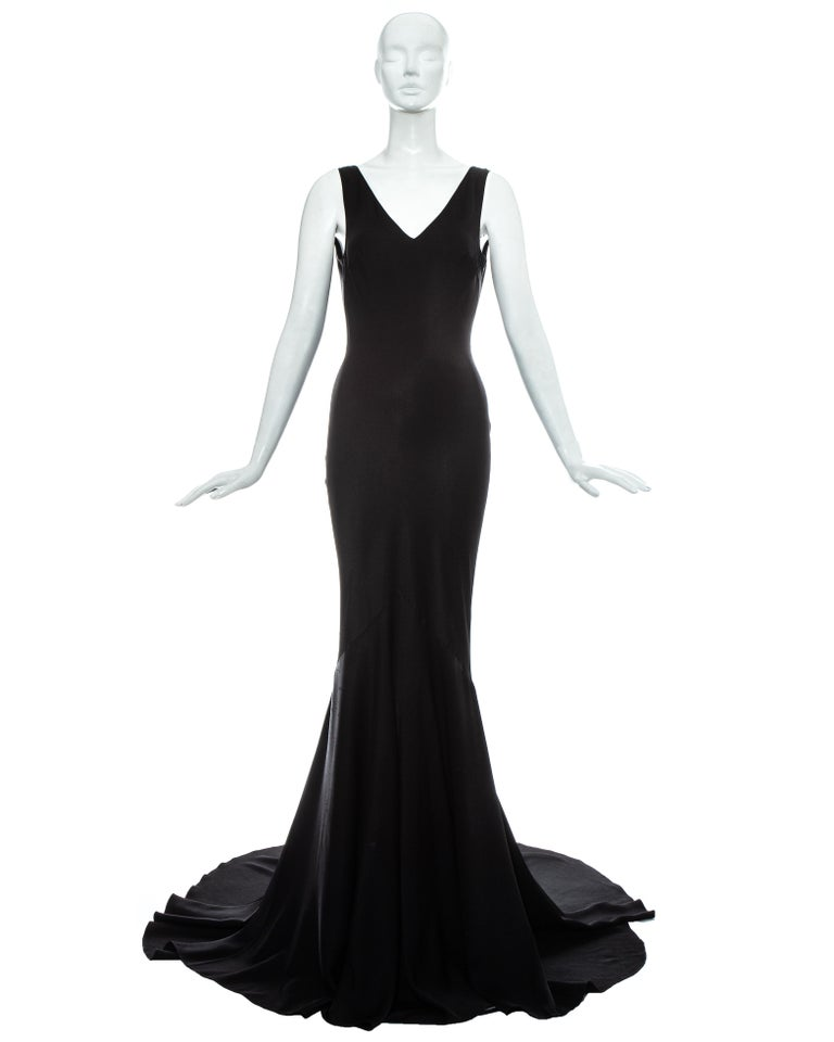 John Galliano black satin bias cut trained evening dress, fw 1995 For Sale 2