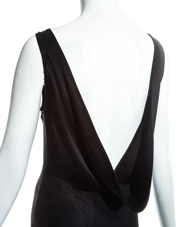 John Galliano black satin bias cut trained evening dress, fw 1995 For Sale 3
