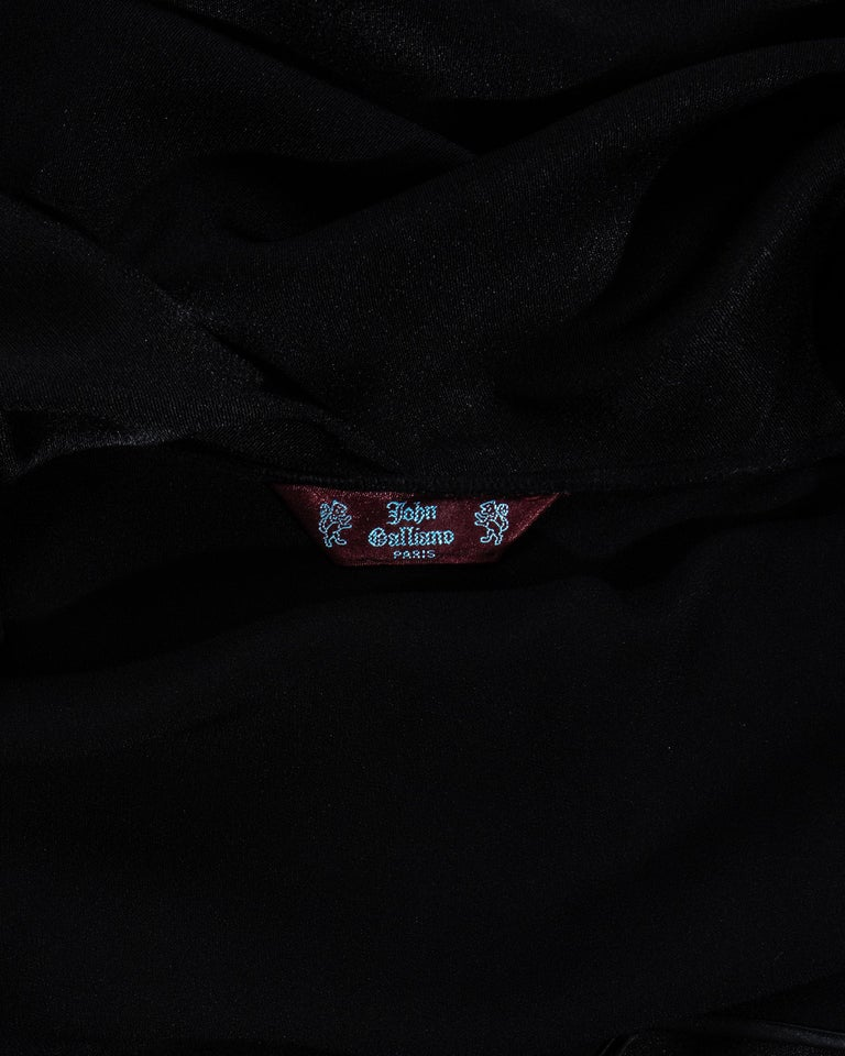 John Galliano black satin bias cut trained evening dress, fw 1995 For Sale 4