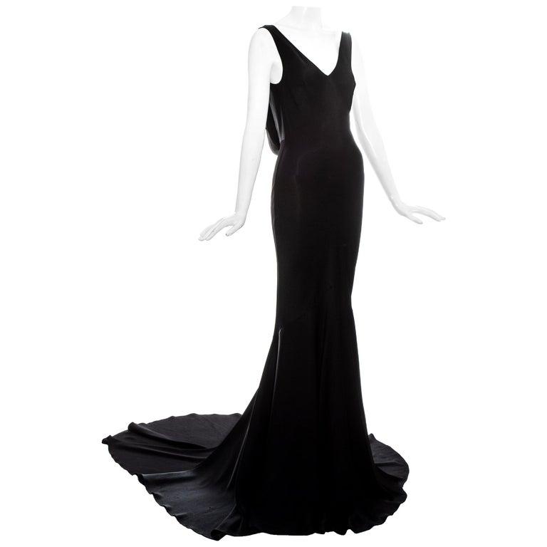 John Galliano black satin bias cut trained evening dress, fw 1995 For Sale