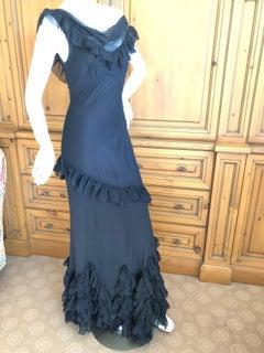 John Galliano Black Sheer Vintage Silk Ruffled Evening Dress with Cowl Back