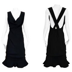 John Galliano Black Silk Crepe Criss Cross Back Cocktail Dress