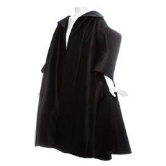 John Galliano black silk structured opera coat, ss 1995