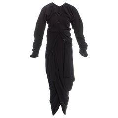John Galliano black viscose draped 'Rose Collection' ensemble, fw 1987