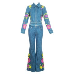 John Galliano blue cotton denim embroidered flared pant suit, ss 2002