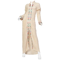 John Galliano Boho Crochet Maxi Sweater Coat