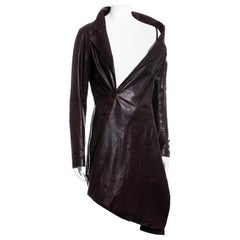 John Galliano brown leather twisted off-shoulder jacket, fw 2000