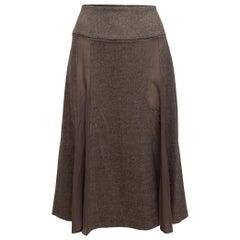 John Galliano Brown Wool & Silk Skirt