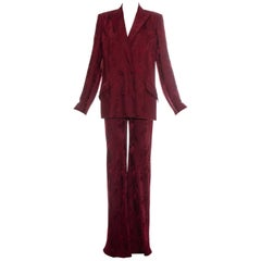 John Galliano Burgundy brocade flared pant suit, ss 1998