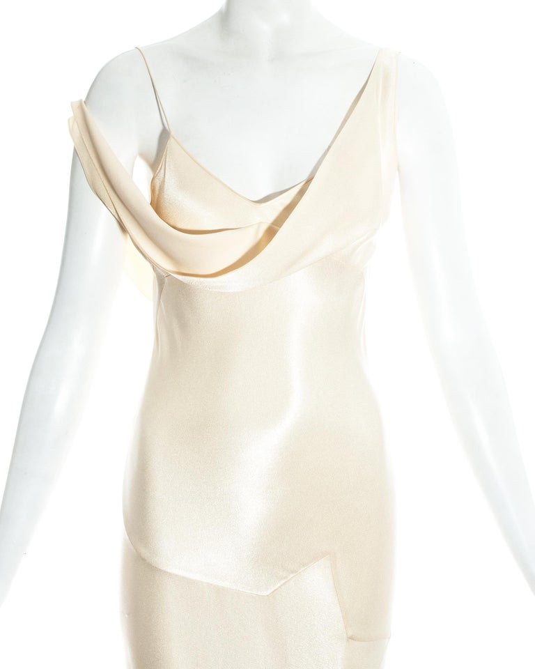 White John Galliano champagne bias cut wedding dress, ss 1995 For Sale