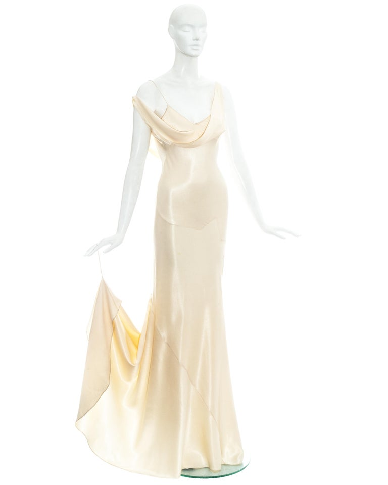 John Galliano champagne bias cut wedding dress, ss 1995 In Excellent Condition For Sale In London, GB