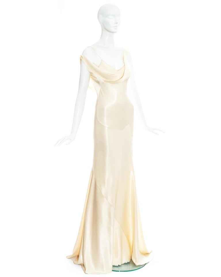 Women's John Galliano champagne bias cut wedding dress, ss 1995 For Sale