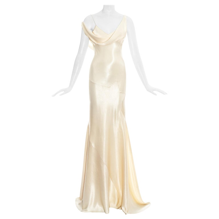 John Galliano champagne bias cut wedding dress, ss 1995 For Sale