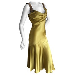 John Galliano Chartreuse Silk Charmeuse Cocktail Dress with Leather Straps