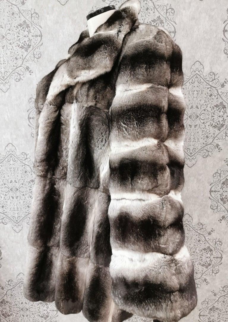 Black John Galliano Chinchilla Fur Coat (size 16) For Sale