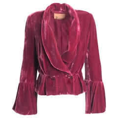 John Galliano Cranberry Silk Velvet Jacket with Peplum & Bell Sleeves Sz 10