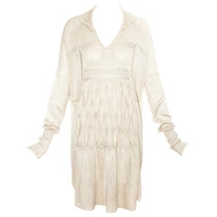 John Galliano cream knitted silk 'farmers smock' dress, ss 1986