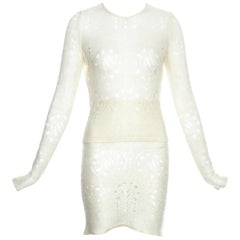 John Galliano cream knitted two-piece skirt set, fw 2000