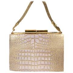John Galliano Croc Embossed Leather Handbag