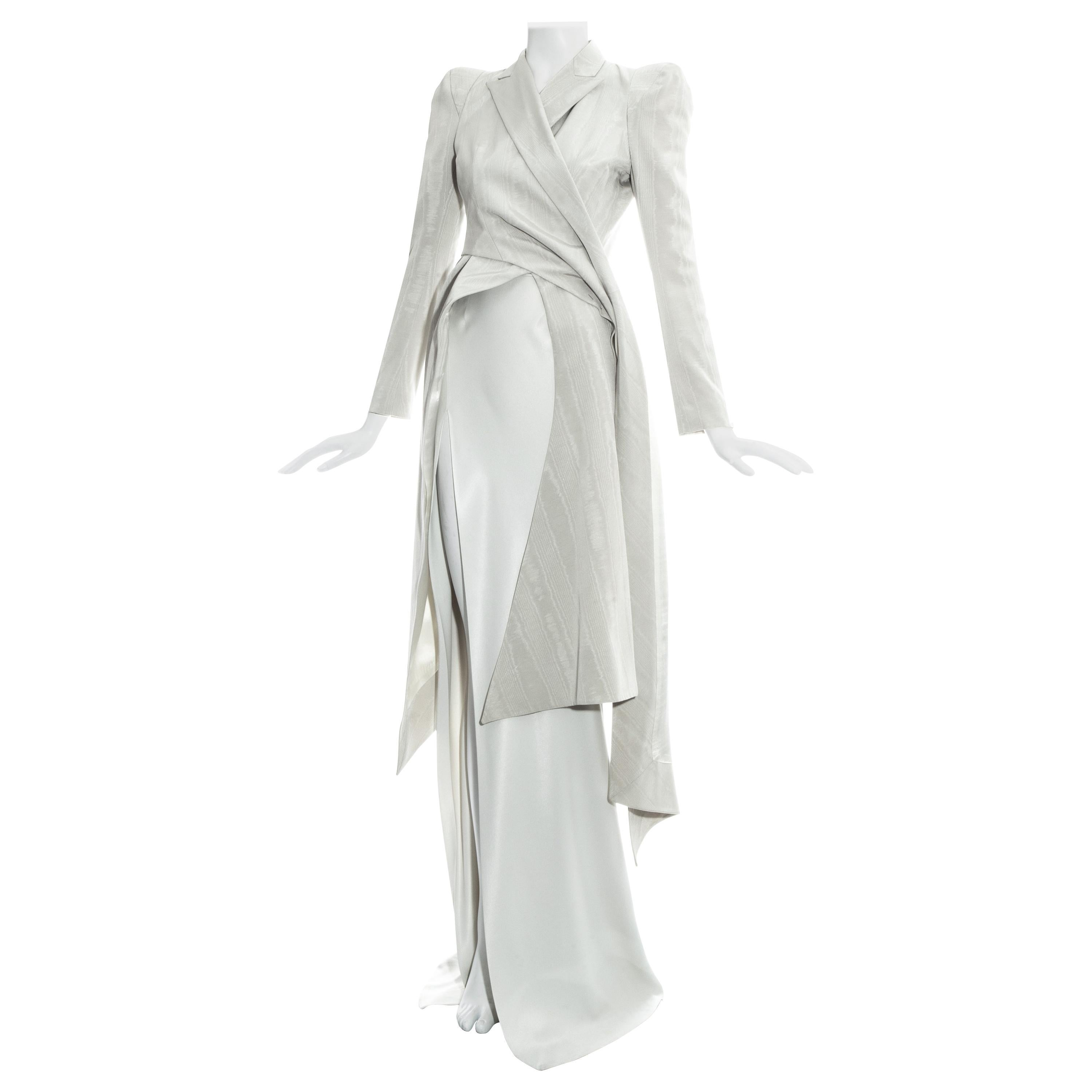 John Galliano dove grey moire silk wrap jacket and high slit skirt suit, ss 1995
