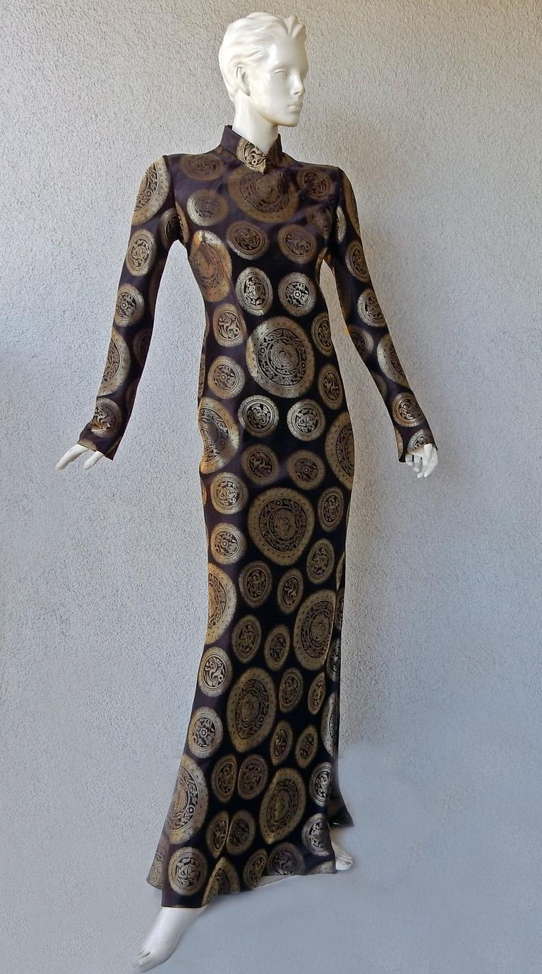 Black John Galliano Dramatic Coveted Cheongsam Gold Medallion Dress Gown     For Sale