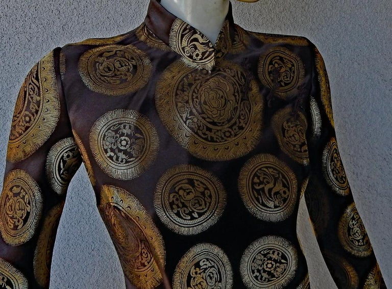 John Galliano Dramatic Coveted Cheongsam Gold Medallion Dress Gown     In Excellent Condition For Sale In Los Angeles, CA