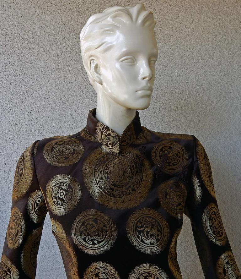 Women's John Galliano Dramatic Coveted Cheongsam Gold Medallion Dress Gown     For Sale