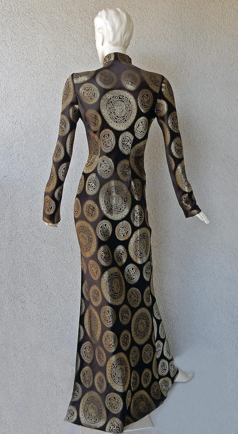 John Galliano Dramatic Coveted Cheongsam Gold Medallion Dress Gown     For Sale 3