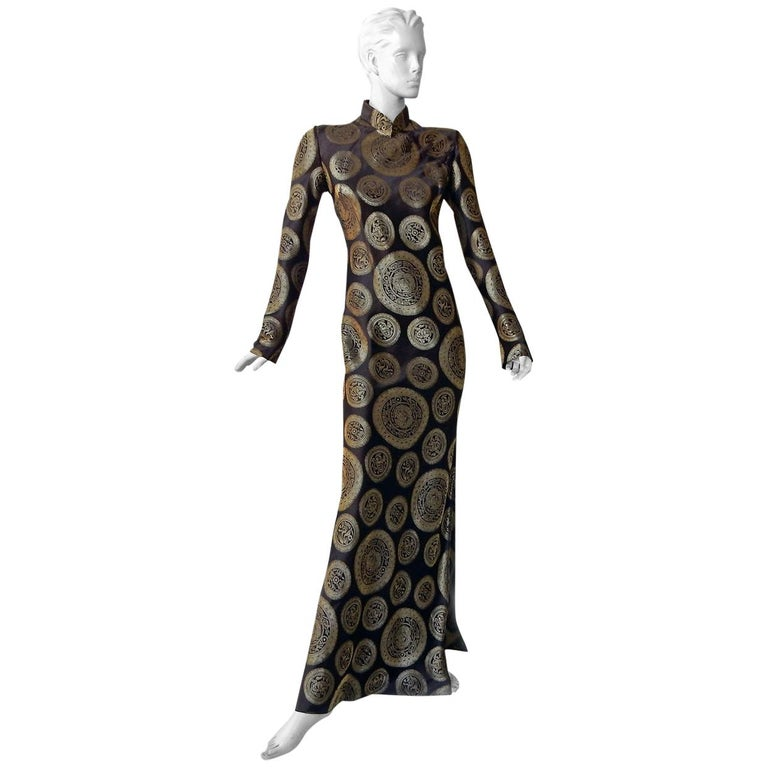John Galliano Dramatic Coveted Cheongsam Gold Medallion Dress Gown     For Sale