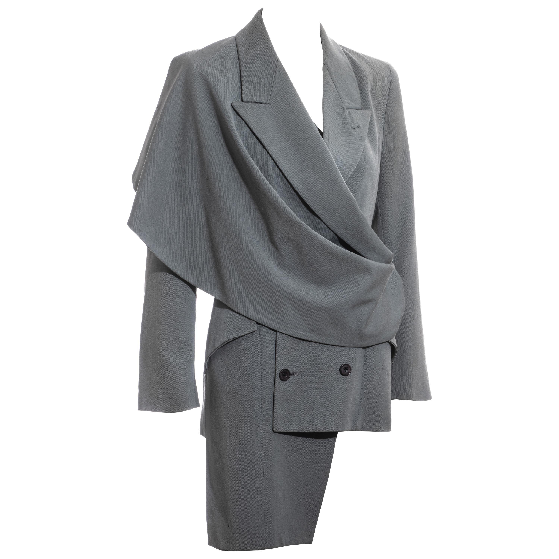 John Galliano dusty teal wool double breasted blazer jacket, fw 1988